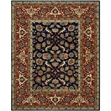 Safavieh ROY257A-8 Royalty Collection Handmade Traditional Navy & Rust Wool Area Rug, 8' x 10'
