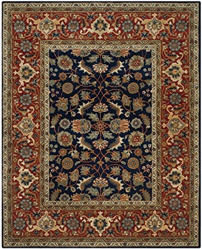Safavieh Royalty Collection ROY257A Handmade Traditional Navy and Rust Wool Area Rug 8 x 10