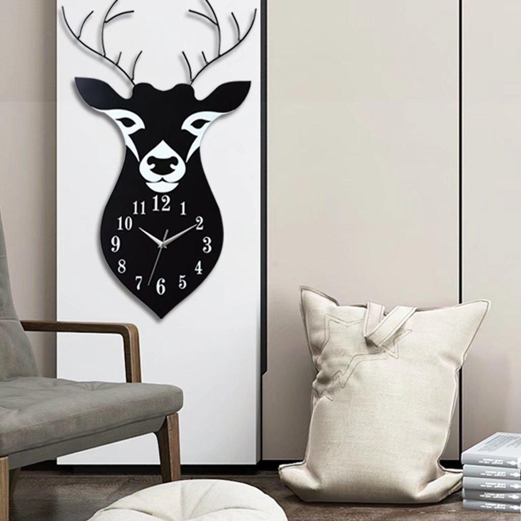 北欧 モダン 簡約 鹿 数字時計 デザイン 壁掛け 可愛い おしゃれ インテリア 客間 玄関 子供部屋 リビング 掛け時計 デジタル 静か 電池式 ブラック B0752BDRN6