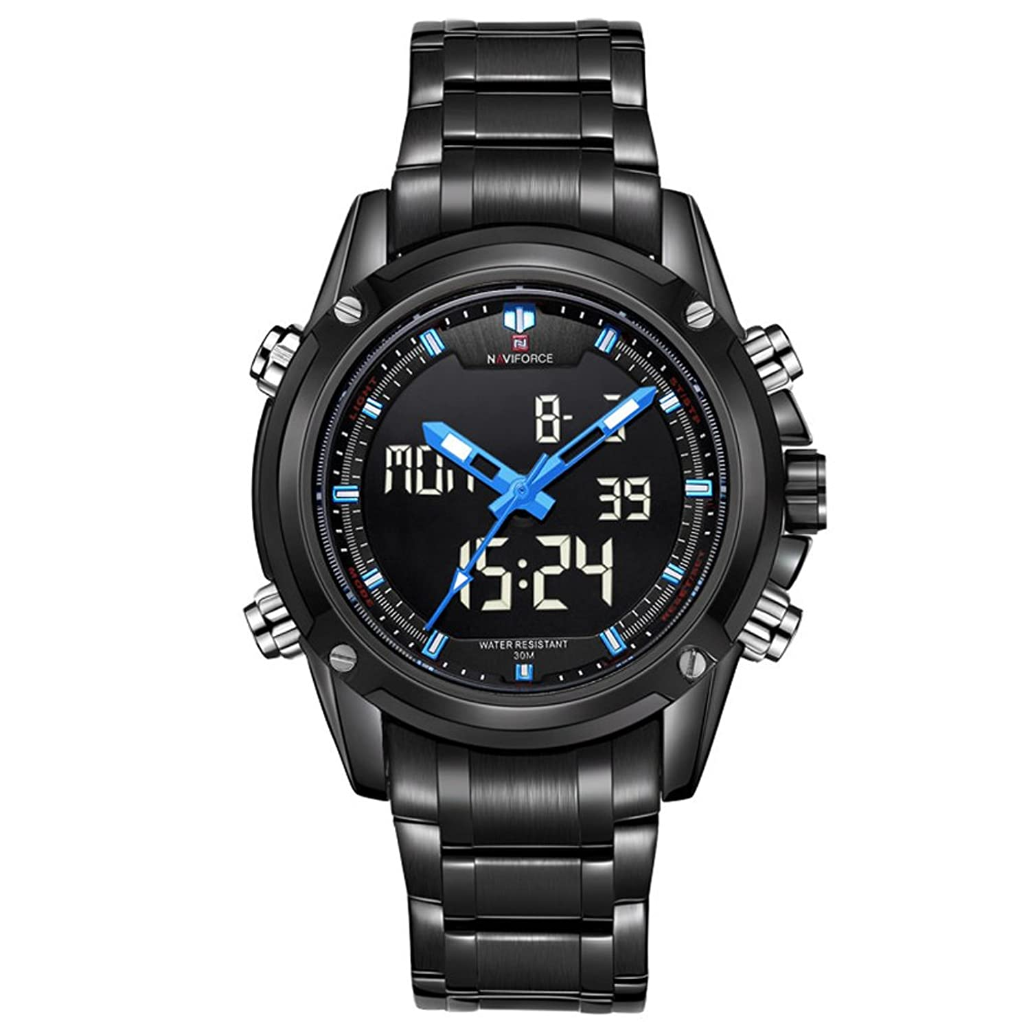 Amazon.com: Smalody Men Sport Full Steel Digital LED watch reloj hombre Army Military wristwatch Full Steel relogio masculino (Blue): Watches