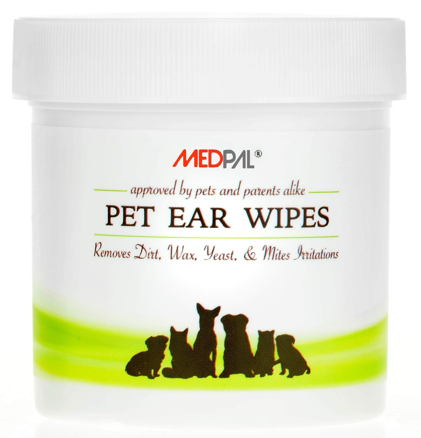 MedPal Professional Pet Ear Cleansing Wipes for Dogs and Cats - Dog Ear Wipes Used to Stop Itching, Prevent Mites, Yeast & Ear infections. - Advanced Formula! - 100 Count by MedPal