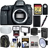 Canon EOS 6D Mark II Wi-Fi Digital SLR Camera Body with 64GB Card + Backpack + Flash + Video Light + Battery & Charger + Kit