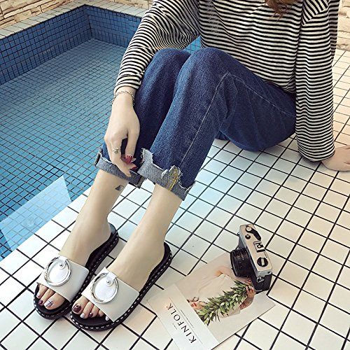 metal slip female comfortable Casual wild wear and non seaside Women's word fashion Beach WHLShoes slippers Sandals Pink summer cwq7ZUxH
