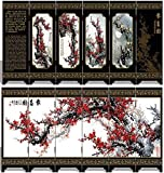 Traditional Chinese Art for Home Decoration - Decorative Lacquerware, Home Decor, Lacquer, Oriental, Mini Divider, White, Black, Red, Golden, Green-Spring Plum