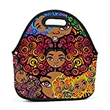 Family Dream Cute Africa Afro Girl Lunch Bag Portable Tote Bento Pouch Lunchbox Baby Bag Multifunction Zipper Satchel for Outdoor Tour School Office Picnic Storage Bag