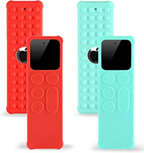 TOKERSE 2 Pack Silicone Cover Compatible with Apple TV 4K / HD Siri Remote (1st Generation) - Anti Slip Remote Cover Case Compatible with Apple TV 4K 4th Gen Siri Remote Controller - Red Cyan