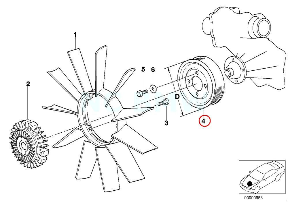 Amazon Com Genuine Bmw E39 E52 Roadster Sedan Fan Pulley Oem