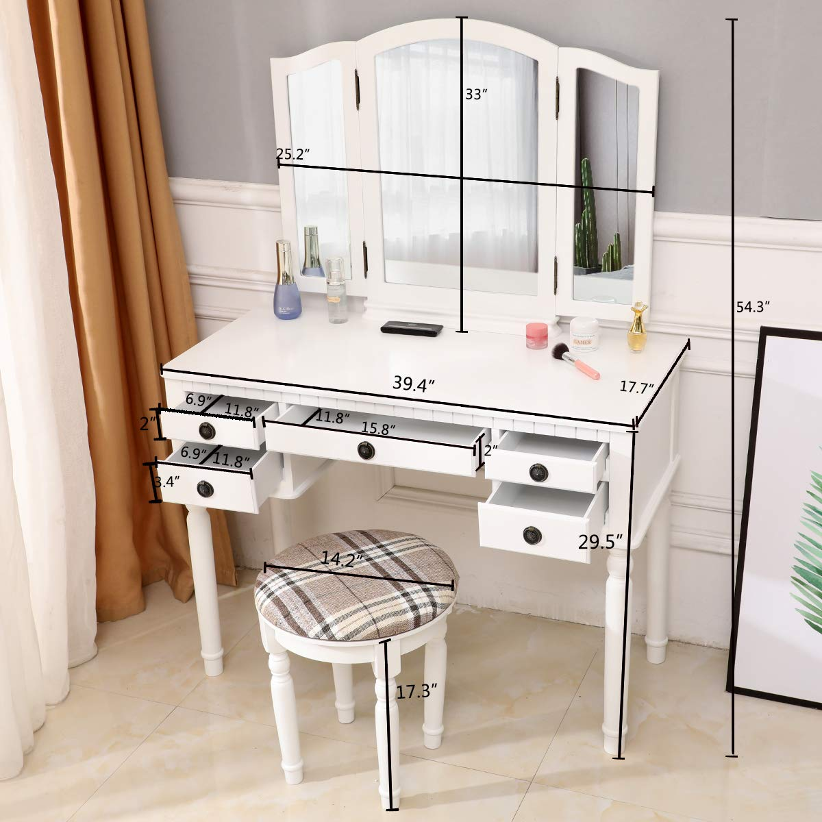 ryokozashi Vanity Table Set, Tri-Folding Mirror Dressing Table and Stool Set 5 Drawers for Women