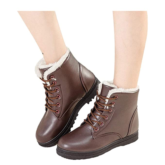 fd20223e170 Amazon.com: Women's Leather Snow Boots High Top Ankle Boots Flat ...
