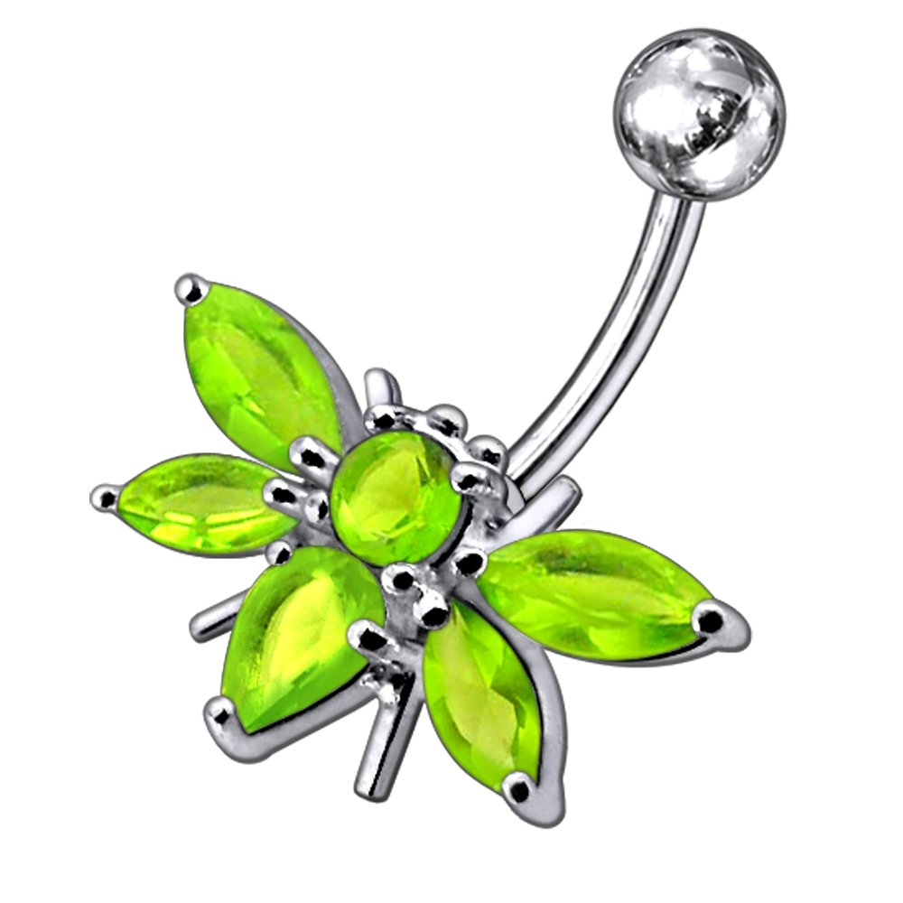 CZ Stone Moth Design 925 Sterling Silver Belly Button Piercing Ring Jewelry