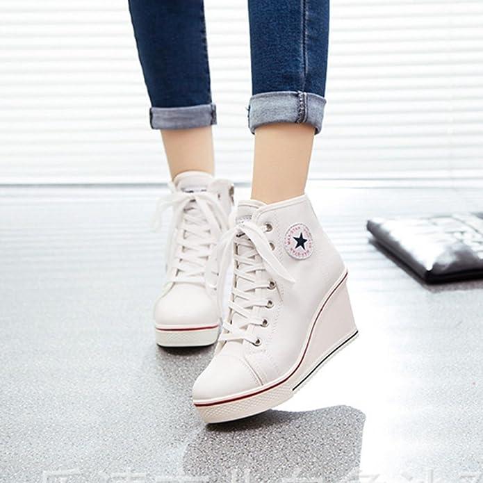 Femme Chaussure de Mode Compensée Sneakers Loisir Basket Haute de Talon  Textile Moderne Montante Wedge 8 CM Blanc 40 Plate-forme  Amazon.fr   Chaussures et ... e262b74089fe
