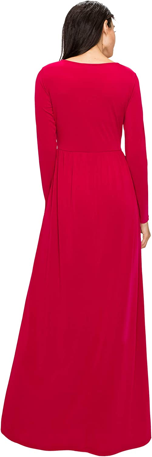 Made By Johnny Womens Long Sleeve Loose Plain Maxi Dresses Casual Long Dresses with Pockets
