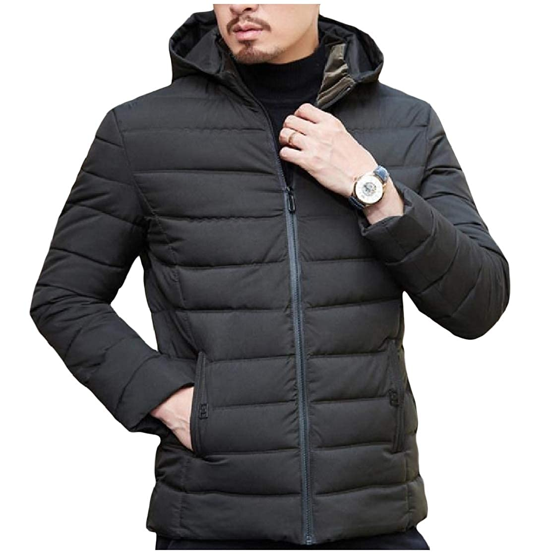 YUNY Mens Keep Warm Thick Zipper Quilted Fitted Hooded Down Outwear Coat Blackish Green 3XL