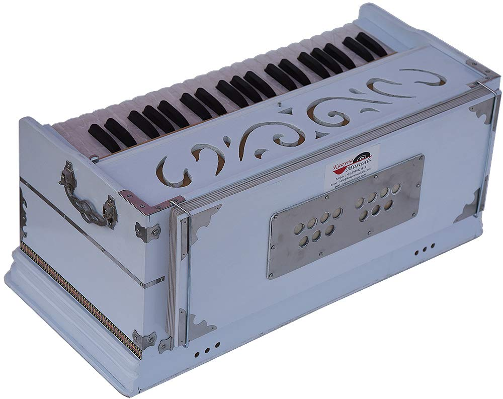 Harmonium White Pro Grade By Kaayna Musicals, 11 Stop- 6 Main & 5 Drone, 3½ Octaves, Coupler, Gig Bag, Bass/Male Reed Tuned- 440 Hz, Suitable for Peace, Yoga, Bhajan, Kirtan, Shruti, Mantra, etc by Kaayna Musicals (Image #5)
