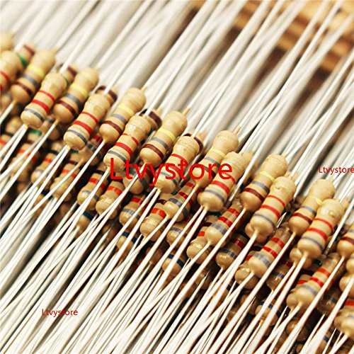 Ltvystore 1500pcs 75 Values 1 ohm - 10M ohm 1/4W Carbon Film Resistors Assortment Kit Assorted Set