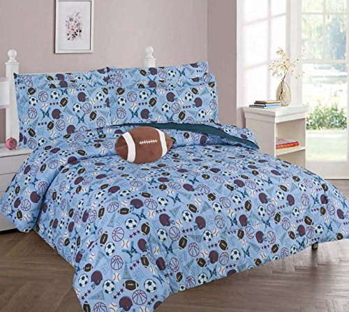The Liquidator Collections Blue Sports, Football, Soccer, Baseball Printed Full 8PC Comforter Set for Boys/Kids/Teens (Full 8PC Comforter) by The Liquidator Goods