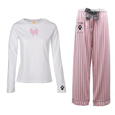 Amazon.com: German Spitz Ladies Flannel Pajamas.: Clothing