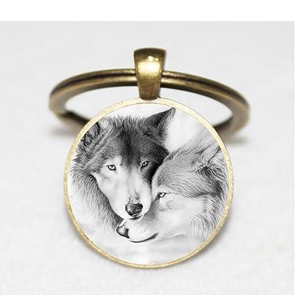 Llavero con diseño de lobo y llavero de llavero, diseño de ...