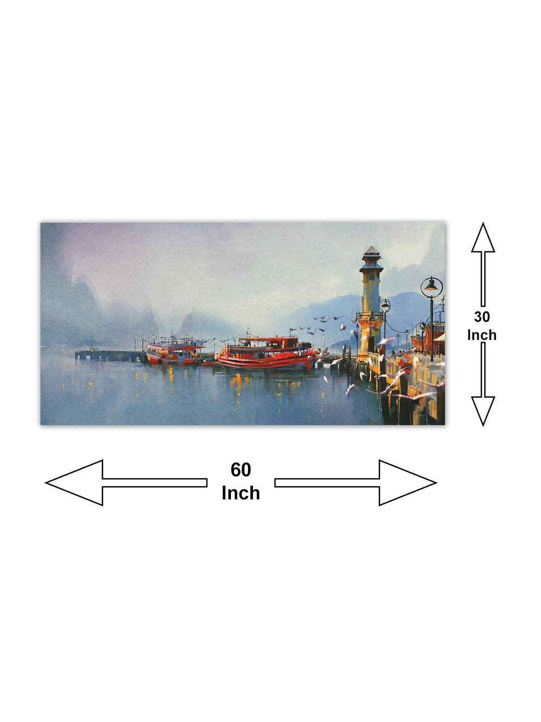 999Store Wooden Framed Printed Fishing Boat in Harbor at Morning Canvas  Painting (36X18 inches)