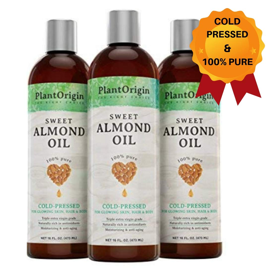 Sweet Almond Oil for radiant skin and hair growth, ideal for DIYs by PlantOrigin16 oz, 100% Pure, Hexane Free and Cold Pressed by PLANTORIGIN