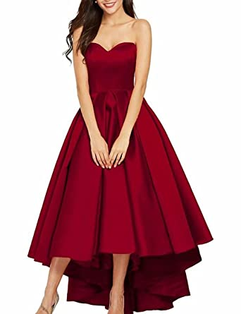 bea61fcb68 Image Unavailable. Image not available for. Color  YOUTODRESS Women s Sweetheart  High Low Satin Formal Dress ...
