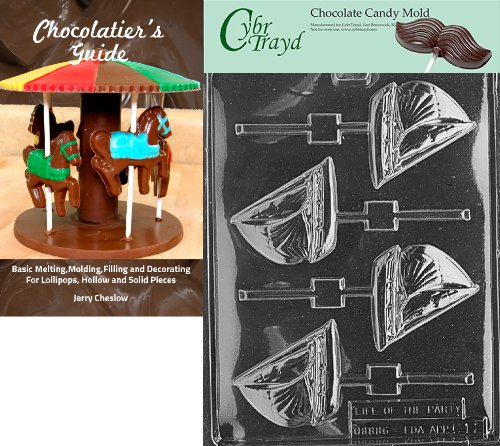 Cybrtrayd Sailboat Lolly Kids Chocolate Candy Mold with Chocolatier's Guide Instructions Book Manual