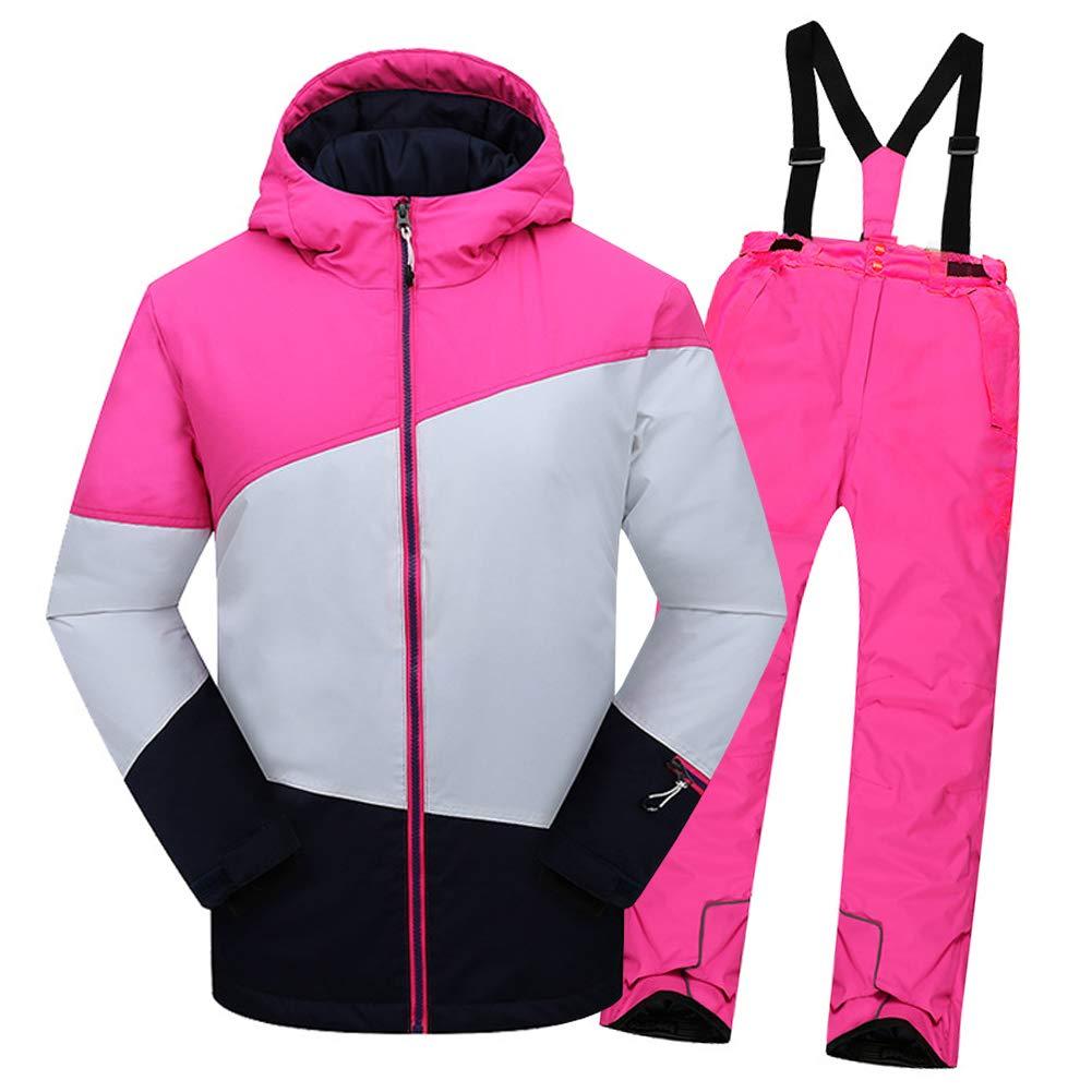 Top Rose+pantalon Rose C 2-3 ans  hauteur recomhommedée 95-105cm LPATTERN Enfant Garçon Fille Ensemble de Ski Coupe-Vent Combinaison Unisexe de Ski Imperméable Chaud épais 2PCS 3-13ans