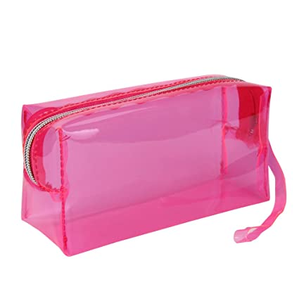 Pencil Holders , Amiley Candy Color Pencil Box Transparent School Pencil Case (Hot Pink)