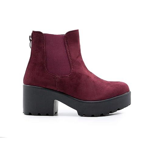 7c9e4f0c2 ZAPSHOP B15008-1 Botin de Tacon con Plataforma y Elasticos Laterales para  Mujer  Amazon.es  Zapatos y complementos