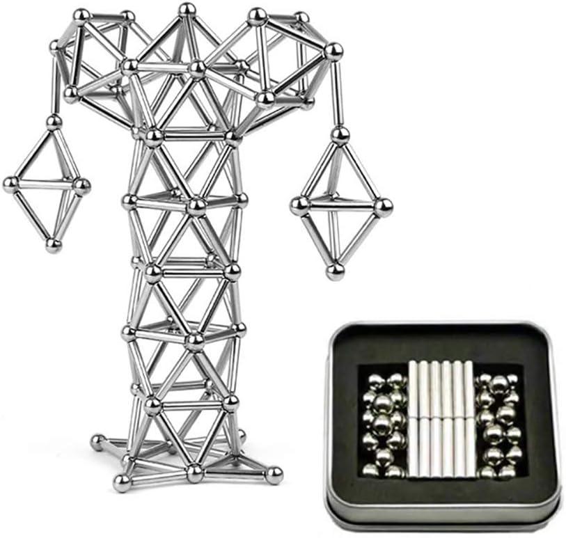 63 PC rompecabezas magnético bloques de construcción palos y bolas juguete apilamiento juego educación construcción juguetes