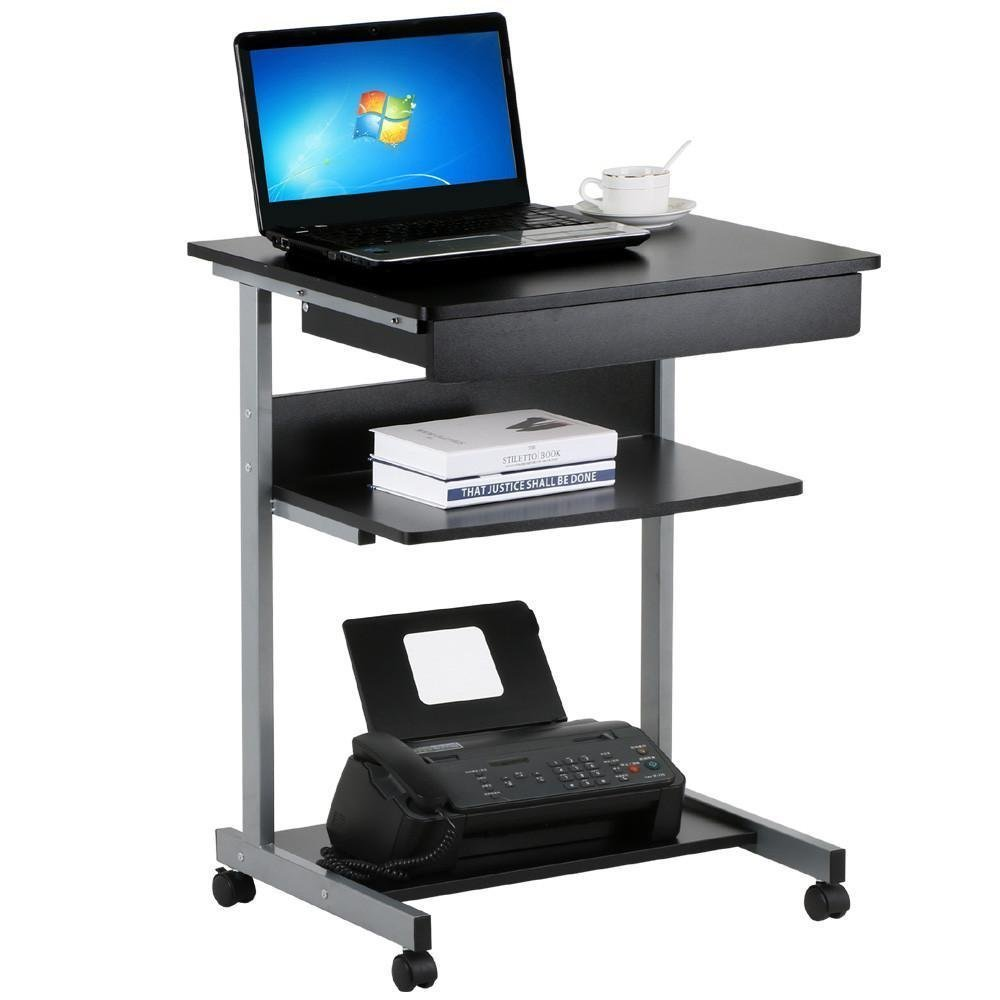Wonder-Direct Black Wood Small Laptop Computer Cart Desk with Drawers and Printer Shelf on Wheels