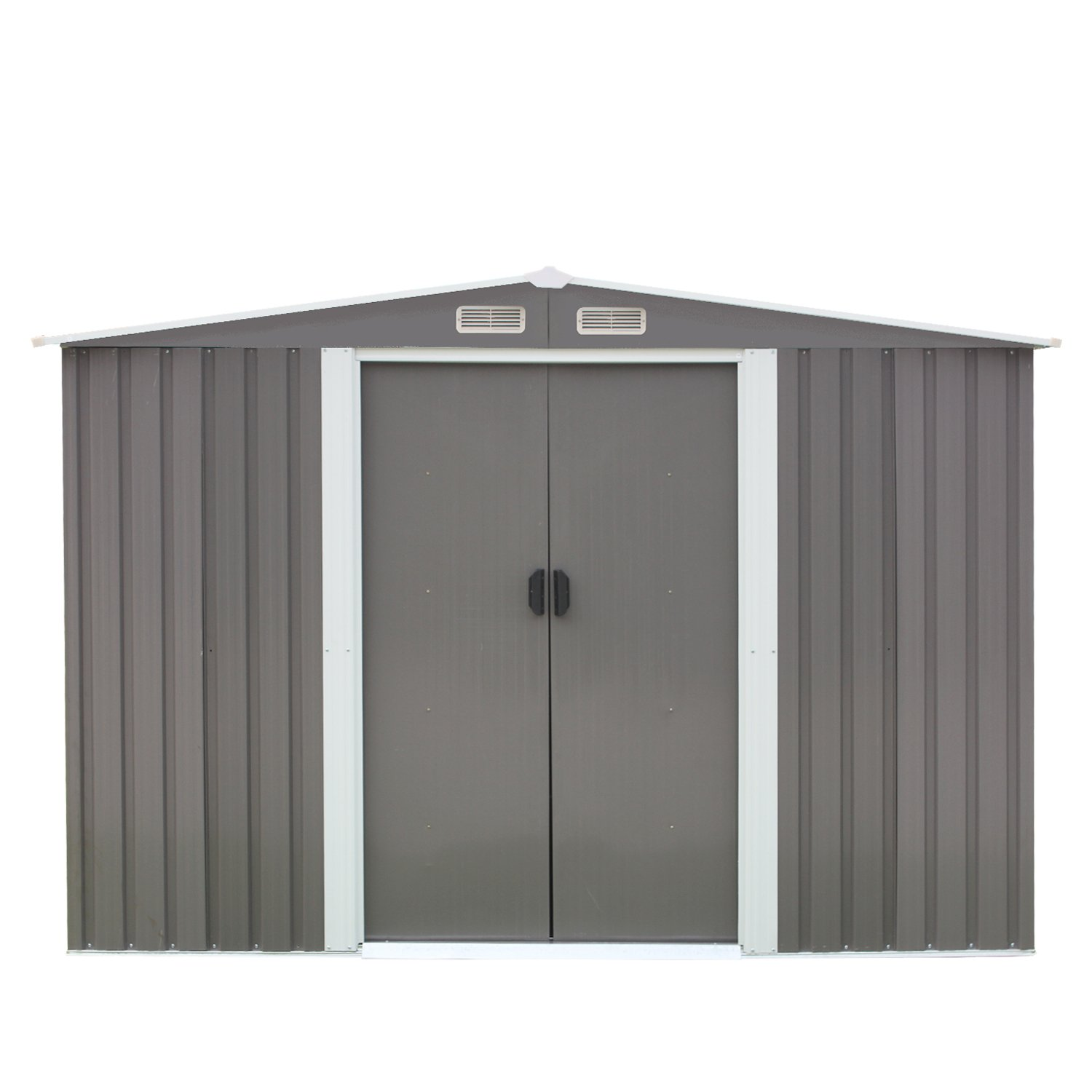 Kintness 8 x 6 Outdoor Steel Garden Storage Utility Tool Shed Backyard Lawn Grey w//Door