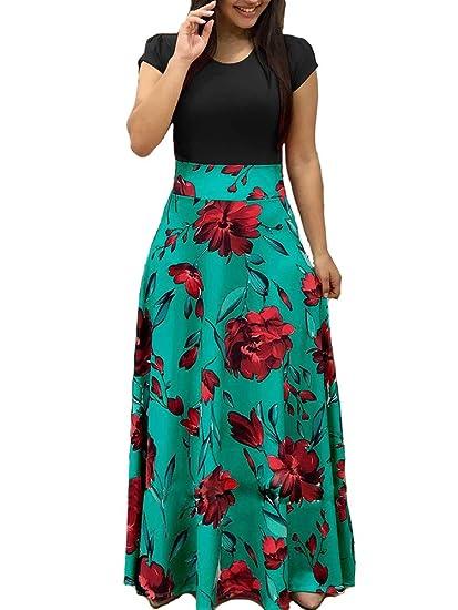 9ca1c0b148eae Aublary Womens Long Sleeve Maxi Dress Round Neck Floral Print Casual Tunic  Long Maxi Dress