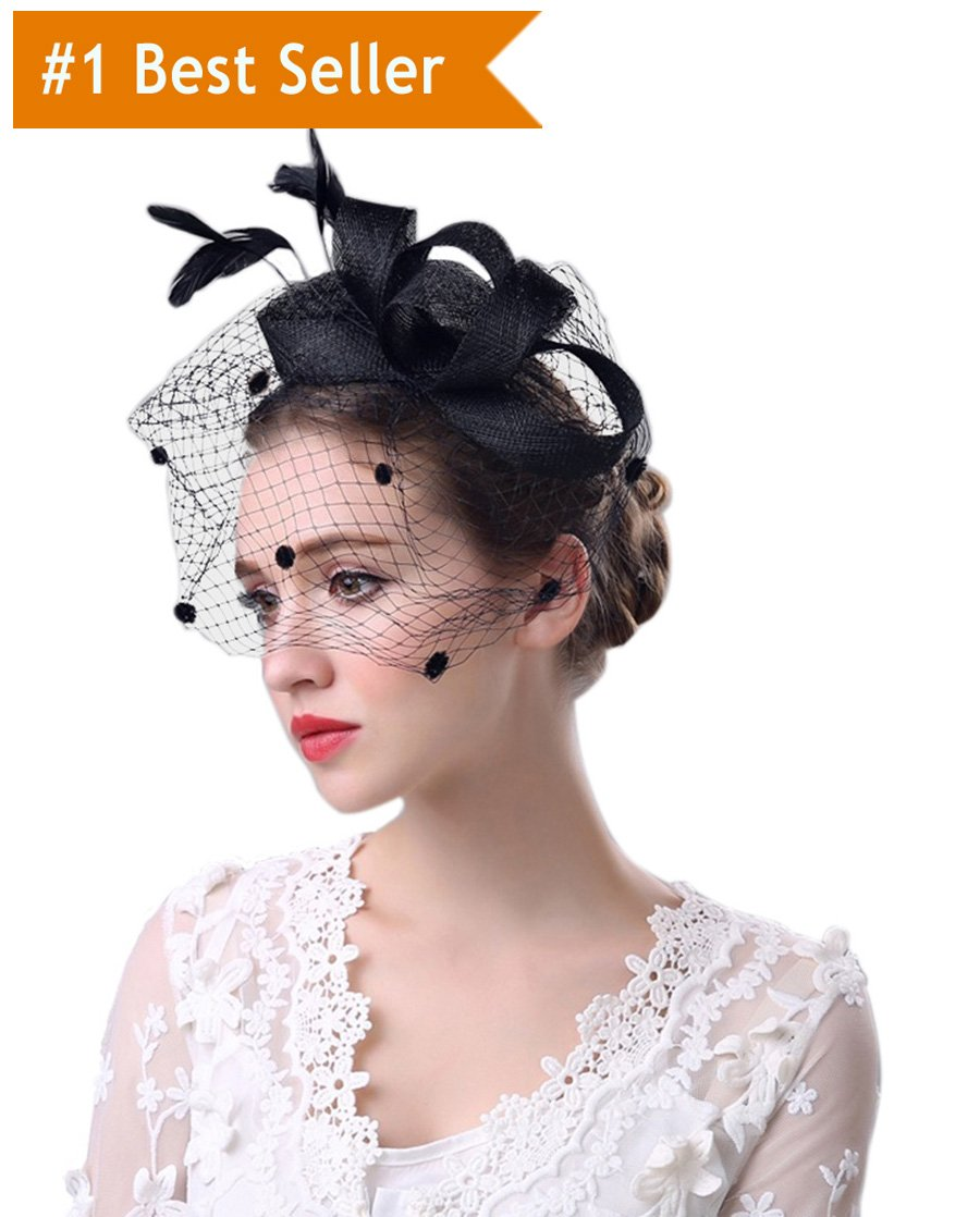 MeryaDress DotVeil Kentucky Derby Fascinator Hats Feather Prom Cocktail Tea Party Hats Black