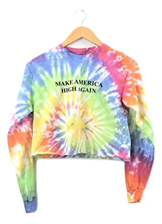 8ddccbd421b Make America High Again Pastel Rainbow Tie-Dye Long Sleeve Graphic Crop Top  at Amazon Women's Clothing store: