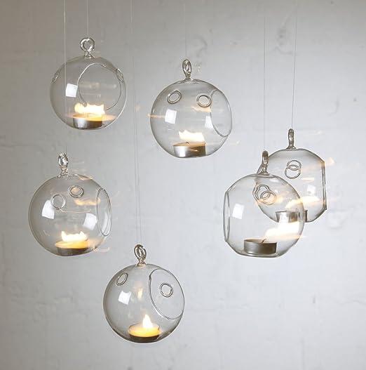 6 x portavelas vela jardín árbol de Navidad decoración de bolas de cristal para colgar de Navidad: Amazon.es: Hogar