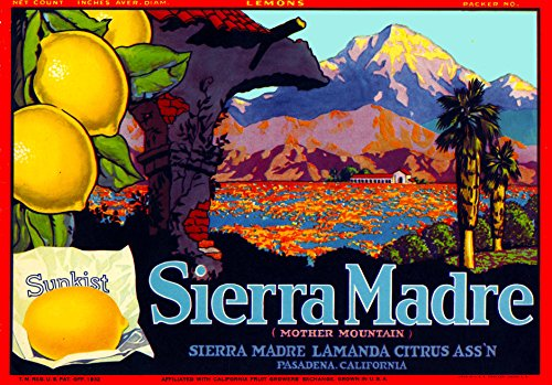 - A SLICE IN TIME Pasadena Sierra Madre Lemon Citrus Fruit Crate Box Label Art Print