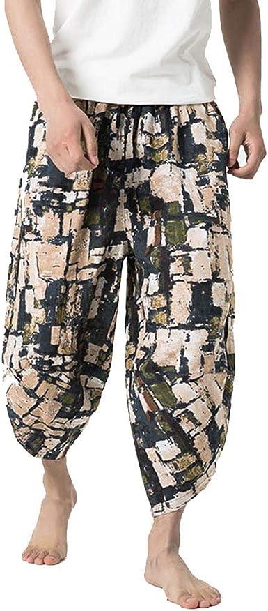 Pantalones Anchos de algodón Lino para Hombres, pantalón Retro ...