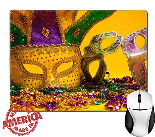 "Luxlady Natural Rubber Mouse Pad/Mat with Stitched Edges 9.8"" x 7.9"" IMAGE ID: 26091100 A festive colorful group of mardi gras or carnivale mask on a yellow Venetian masks - Carnival Costume Ideas For Groups"