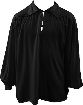 Camisa gótica para Hombre Mediv Larp Buttons Negro Blanco S/M - XL: Amazon.es: Ropa y accesorios