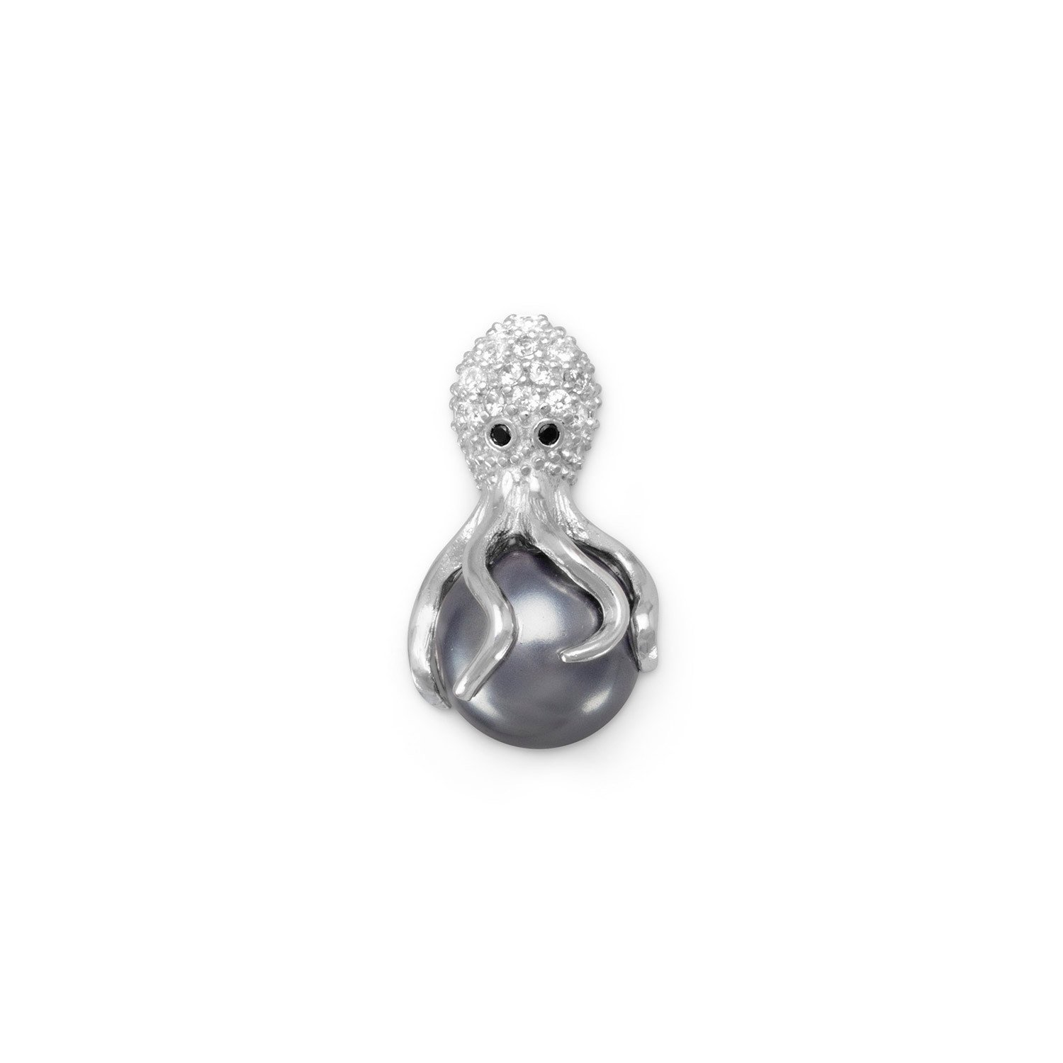 Bunnyberry Rhodium Plated CZ and Simulated Pearl Octopus Slide