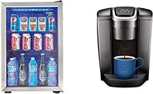 Danby DBC026A1BSSDB 95 Can Beverage Center, 2.6 Cu.Ft Refrigerator, Black/Stainless-Steel & Keurig K-Elite Coffee Maker, Single Serve K-Cup Pod Coffee Brewer, Brushed Slate