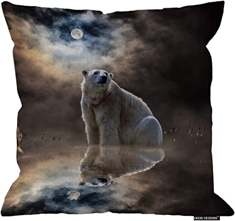 Amazon Com Hgod Designs Polar Bear Cushion Cover Abstract Polar Bear Reflection Of The Water At Night With Moon Cotton Linen Decorative Square Accent Pillow Case 24 X 24 Inches Home Kitchen