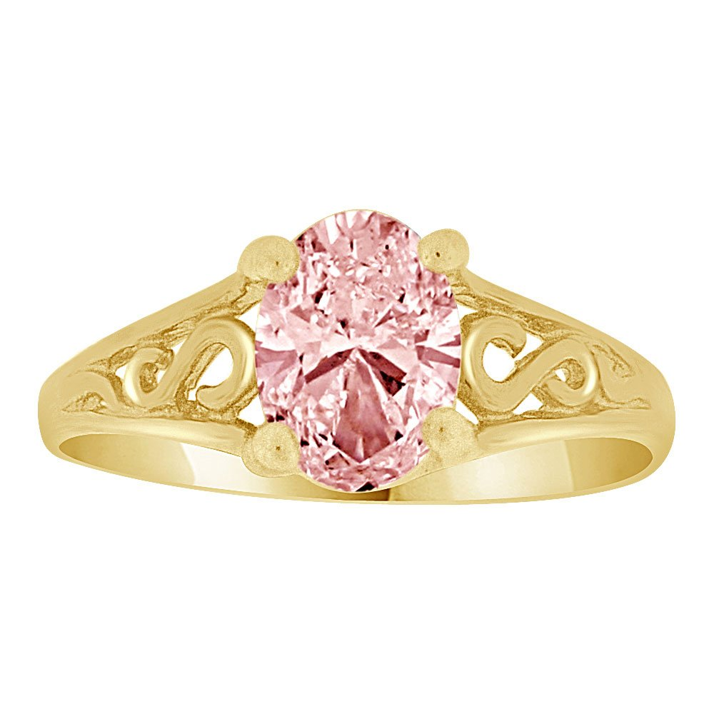 Mini Size Child or Adult Pinky Ring Created Pink CZ Classic Design 14k Yellow Gold