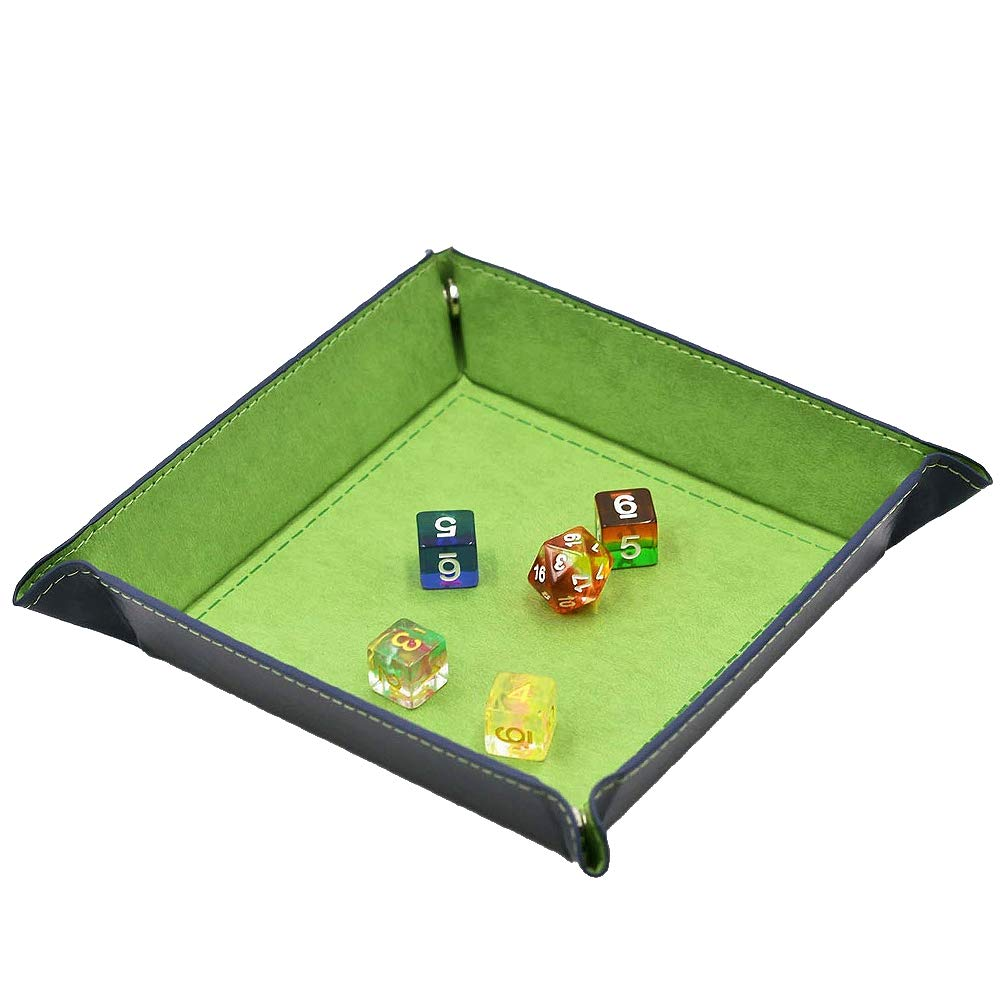 Folding PU Leather Dice Rolling Tray Dice Holder Game Box for D/&D,RPG,Table Games or Desktop Phone Key Storage Winterworm