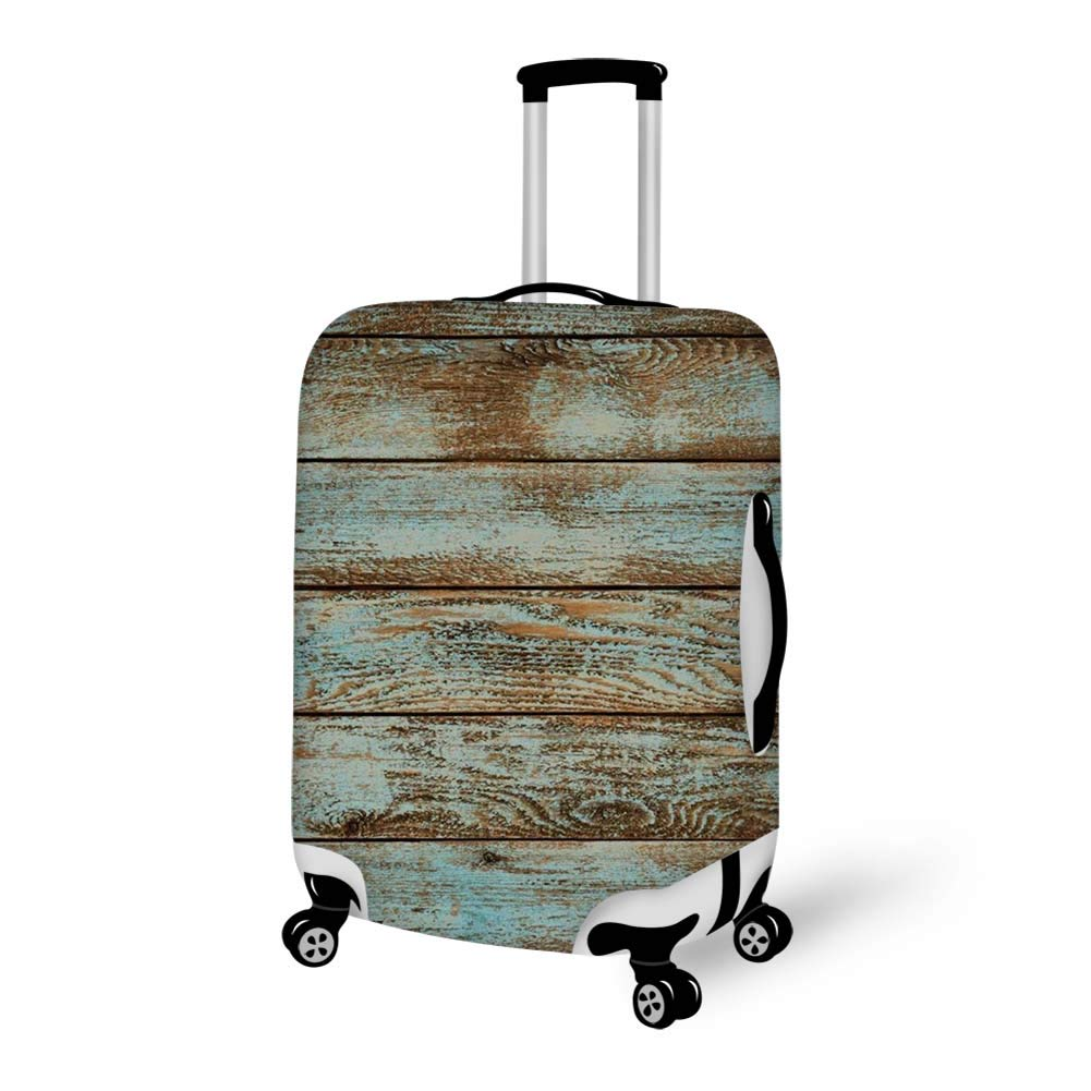 Luggage Cover Rustic Old Barn Wood Protective Travel Trunk Case Elastic Luggage Suitcase Protector Cover