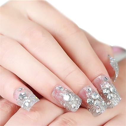 Himanjie brillantes y perlas novia transparente uñas postizas con ...