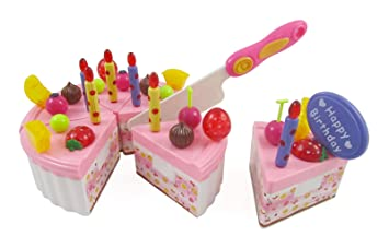 Birthday Cake Play Food Set For Kids With Cutting Knife Candles