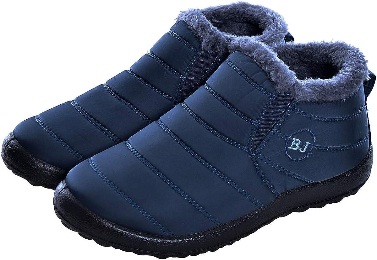 DeerYou Womens Snow Boots Warm Slip-On Winter Ankle Booties Waterproof Anti-Slip Fur Lined Flat Sneakers Blue US 9