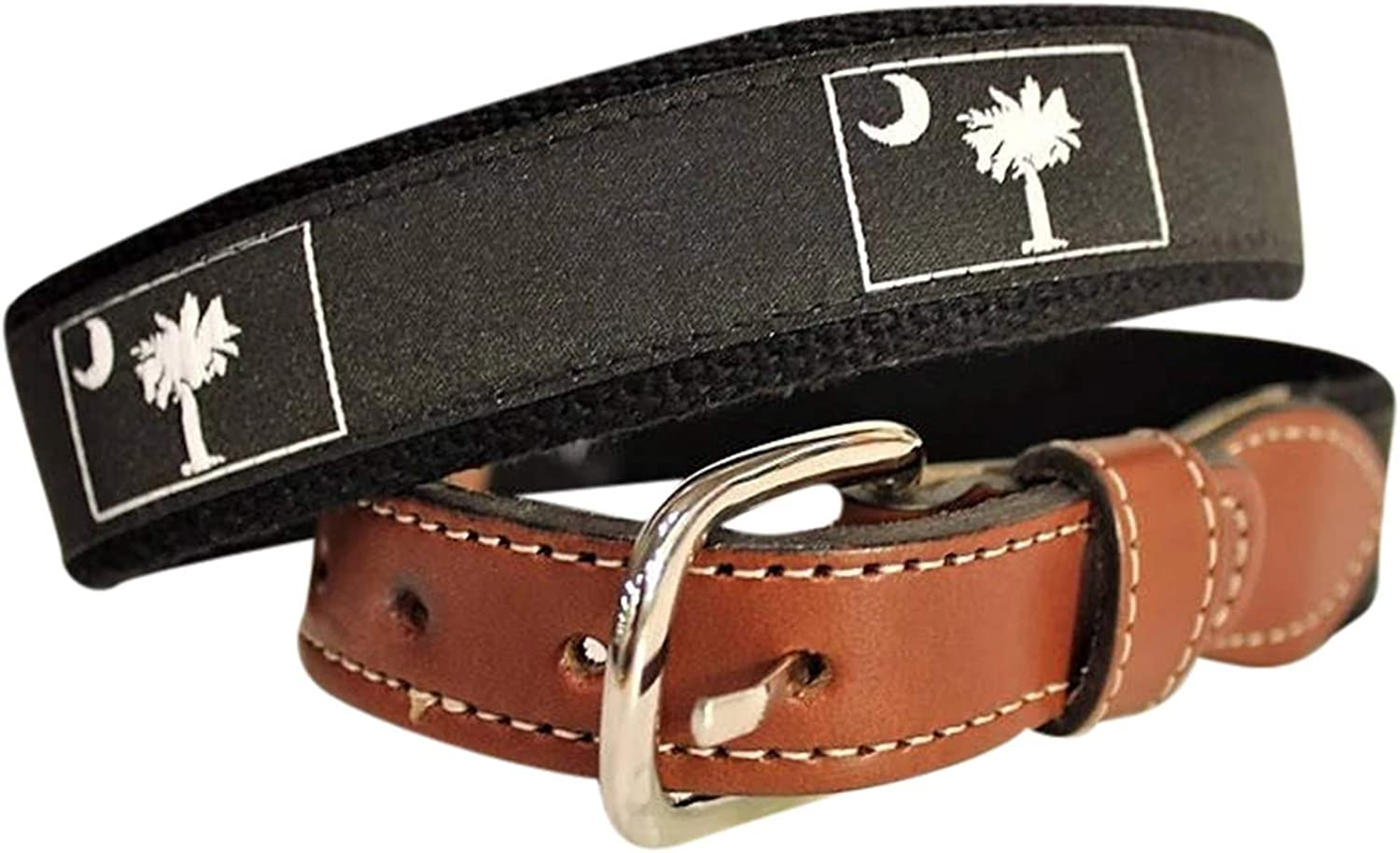 South Carolina State Flag Palmetto Tree and Moon Mens Web Leather Belt Many colors and designs.